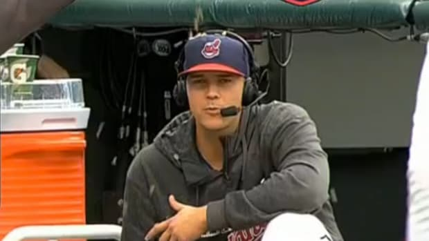 Justin Masterson Gets Doused and Pelted with Seeds During Interview