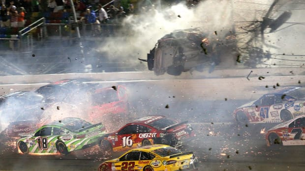 During the final lap of the rain-delayed Coke Zero 400 NASCAR race, driver Austin Dillon was involved in a spectacular crash that sent his car flying into the catchfence at Daytona International Speedway.   While Dillon walked away from the accident, debris flew into the stands injuring a handful of spectators.