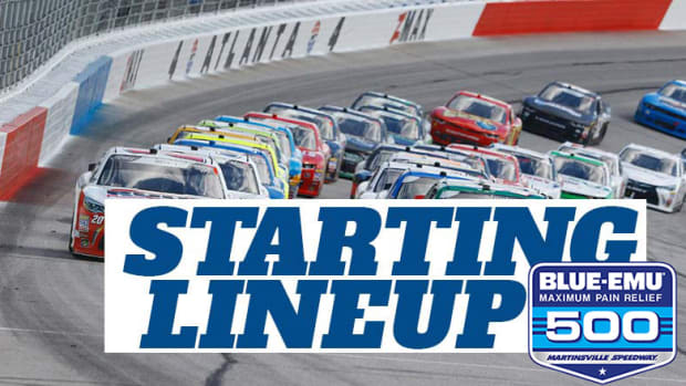 NASCAR Starting Lineup for Saturday's Blue-Emu Maximum Pain Relief 500 at Martinsville Speedway