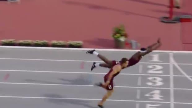 Texas A&M Hurdler Makes Incredible Dive