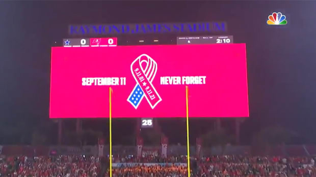 """Sept. 11 """"Never Forget"""" scoreboard, 20-year anniversary of 9/11"""