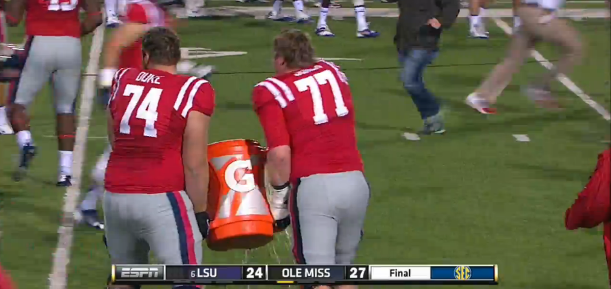 Ole Miss Linemen Can't Find Coach for Gatorade Dousing