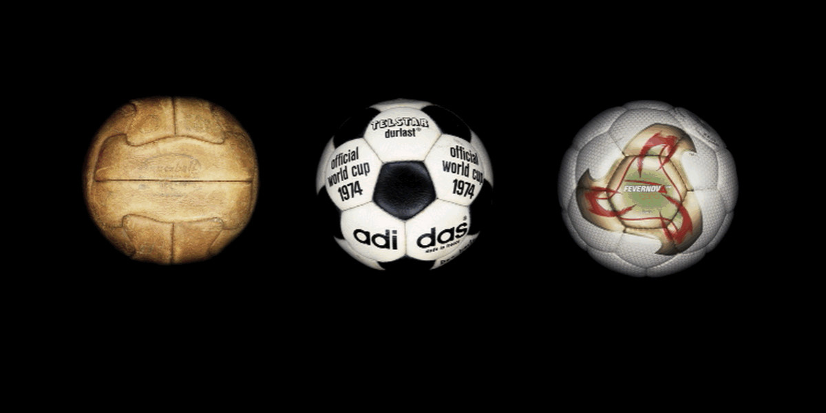 With the World Cup kicking off today, the interweb is abuzz with excitement. What better way to show our excitement than checking out the balls that have graced the soccer field over the decades.