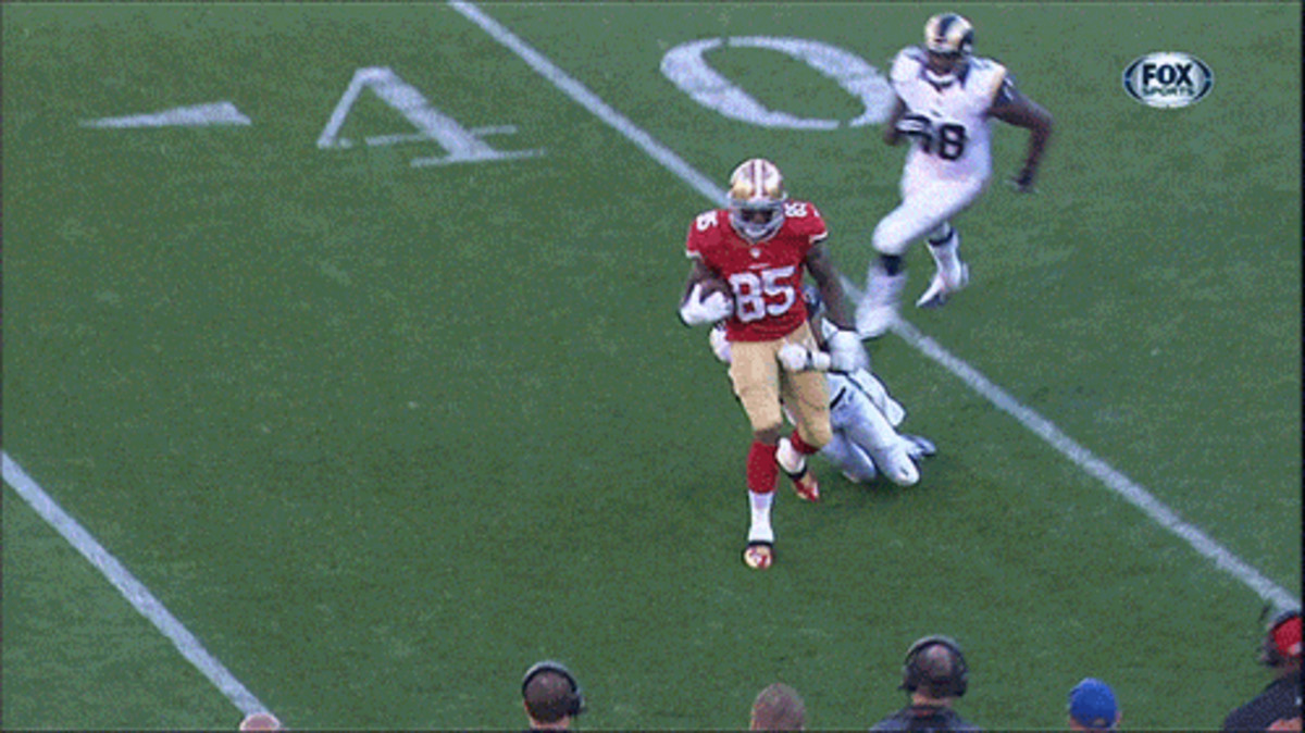 Vernon Davis is Crotch Tackled by T.J. McDonald