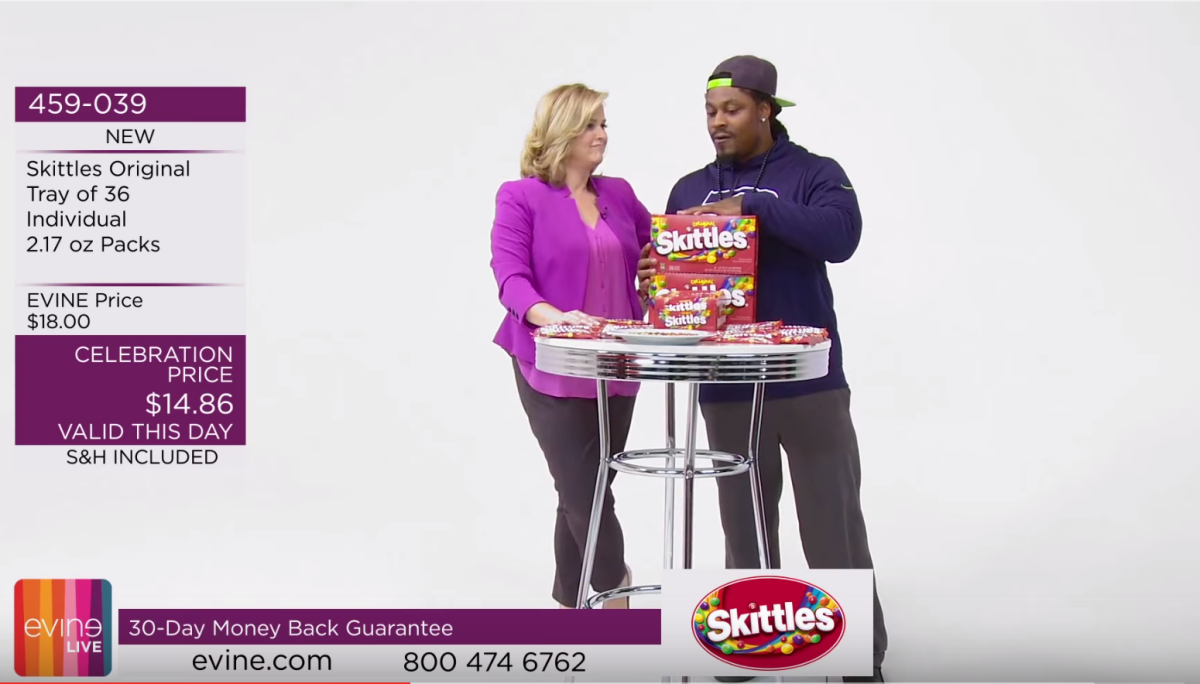 Marshawn Lynch Sells Skittles on an Infomercial (Video)