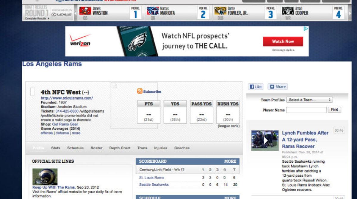 NFL website has 'Los Angeles Rams' page
