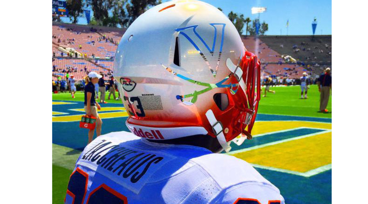 Virginia Cavaliers white helmets