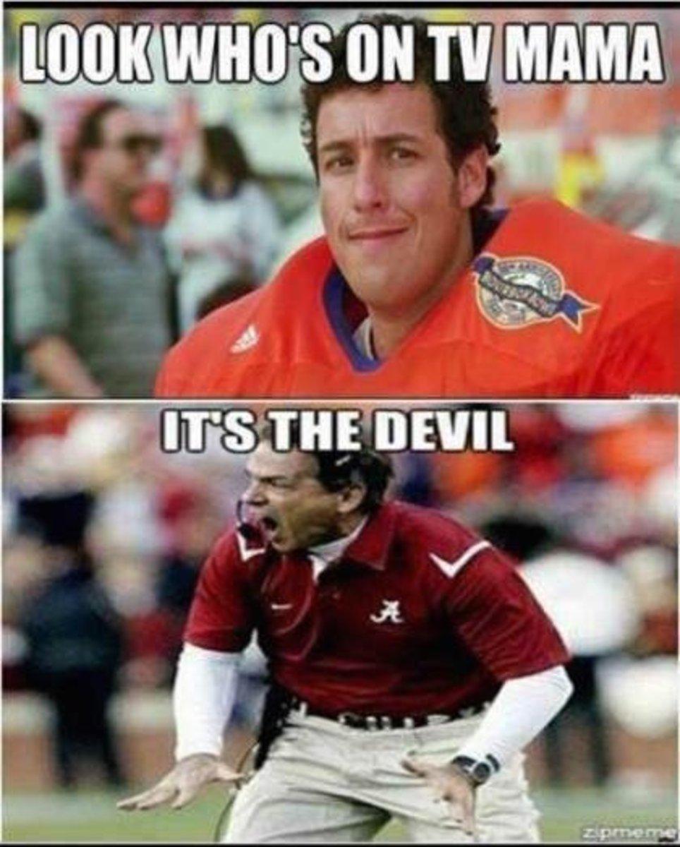 Funny, mean Alabama Football Meme about Nick Saban