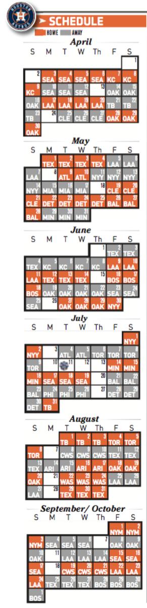 Printable Houston Astros 2017 schedule