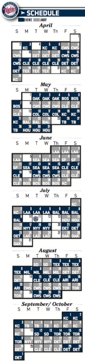 Minnesota Twins Printable 2017 Schedule