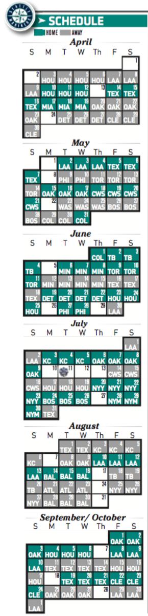 Printable Seattle Mariners 2017 Schedule