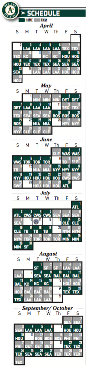 Oakland A's printable 2017 schedule