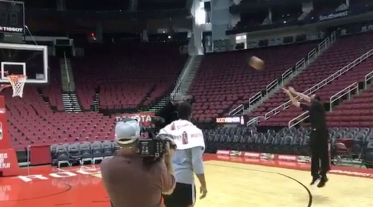 Stephen A. Smith Shows Off His Horrible Jumper in Front of James Harden