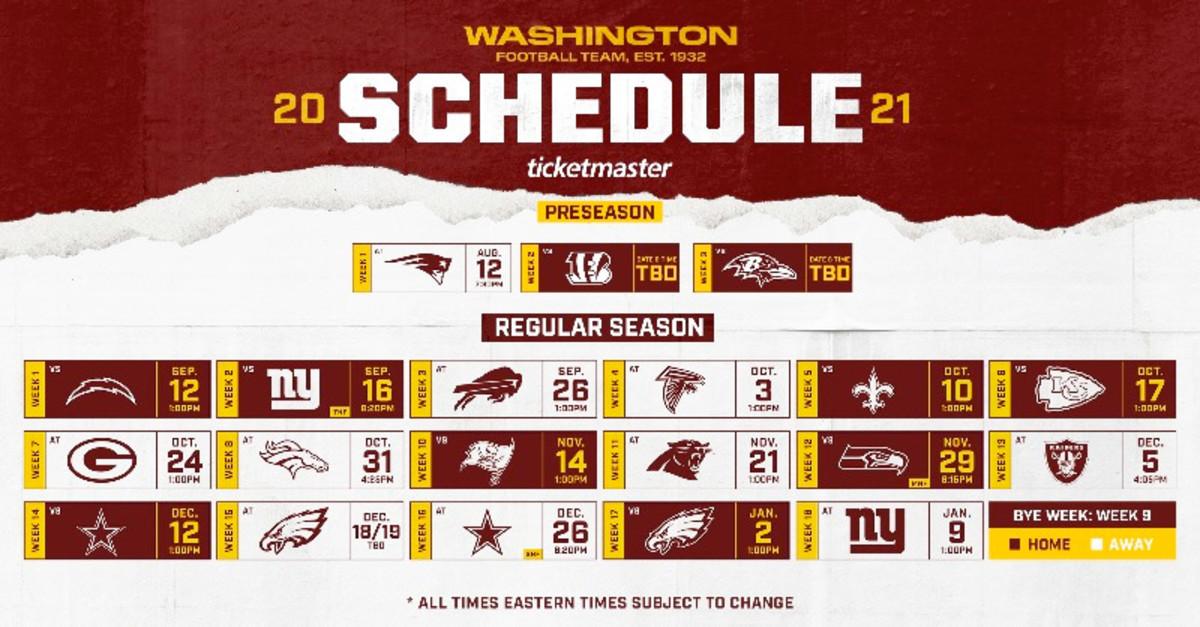 Washington Football Team Schedule 2021