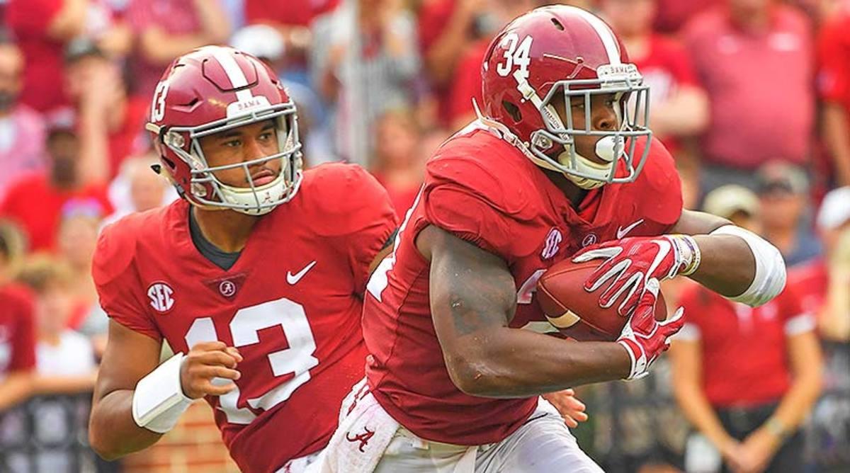 Alabama Crimson Tide Tua Tagovailoa and Damien Harris