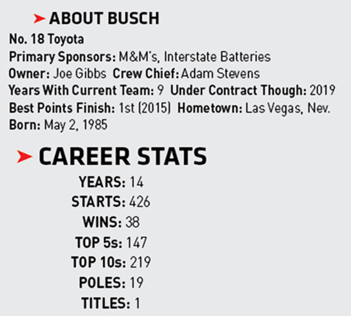 Kyle Busch's Monster Energy NASCAR Cup driver stats.