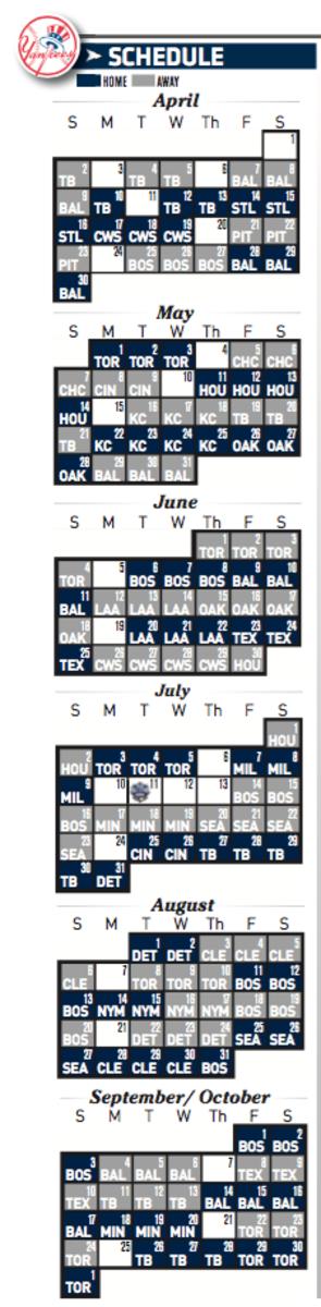 New York Yankees 2017 MLB Schedule