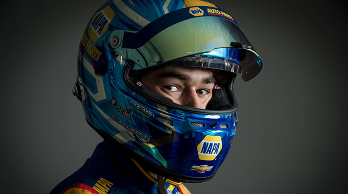 Chase Elliott in racing helmet