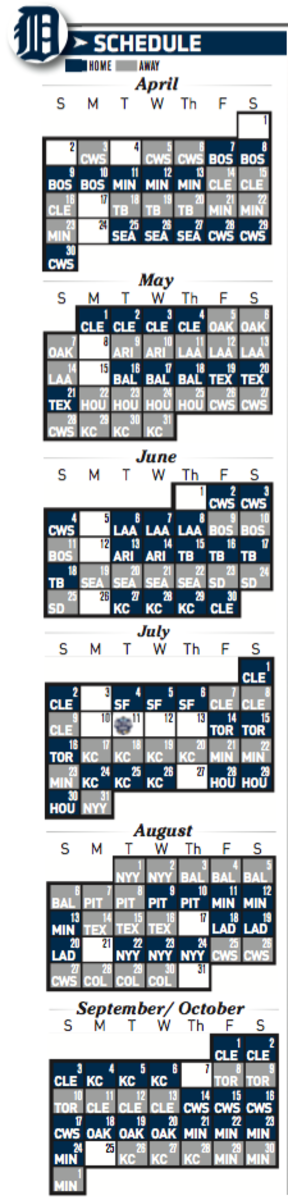 Detroit Tigers 2017 schedule printable