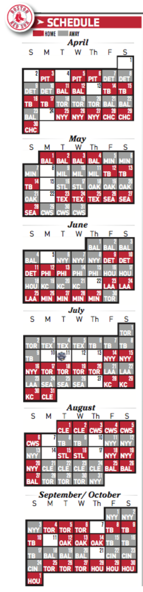 Boston Red Sox Schedule for 2017