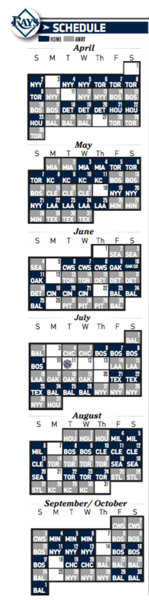 Tampa Bay Rays 2017 MLB Schedule