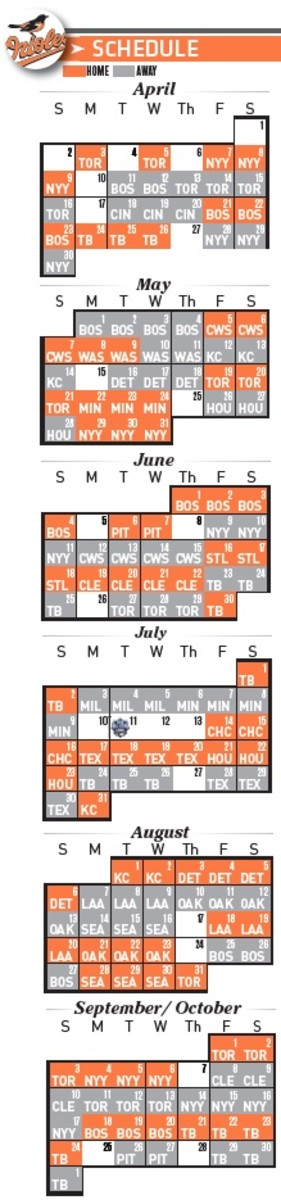Baltimore Orioles 2017 Baseball Schedule