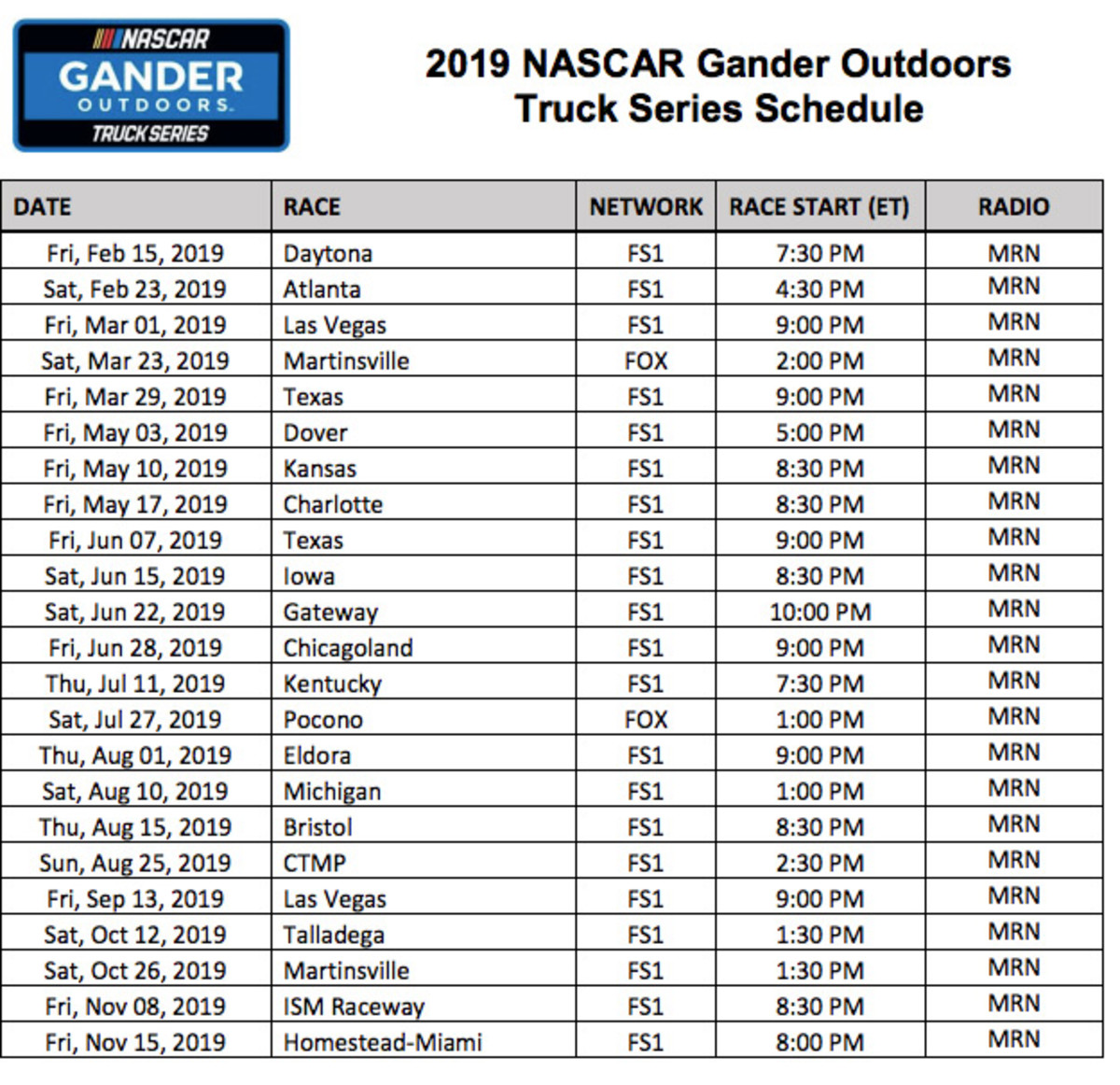 NASCAR Truck Series Printable Schedule for 2019