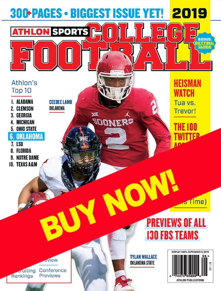College football magazine with Oklahoma on the cover