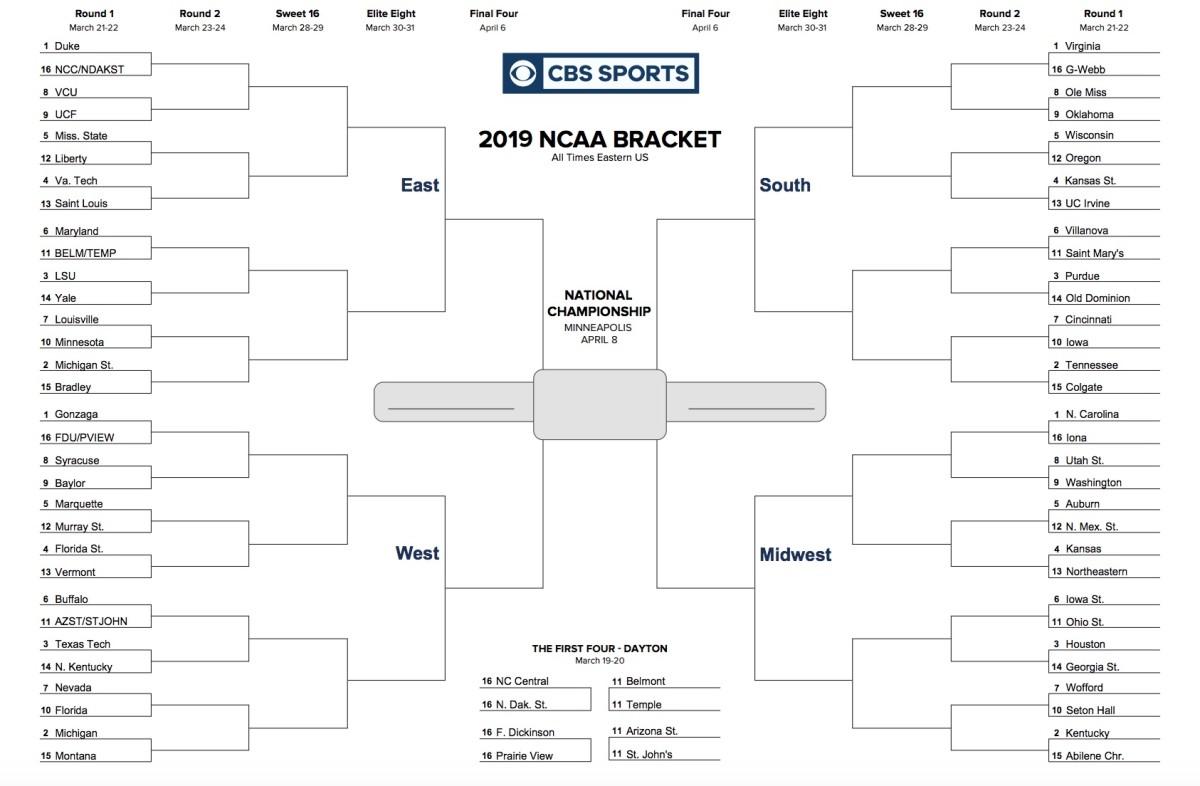 Printable 2019 NCAA Tournament Bracket