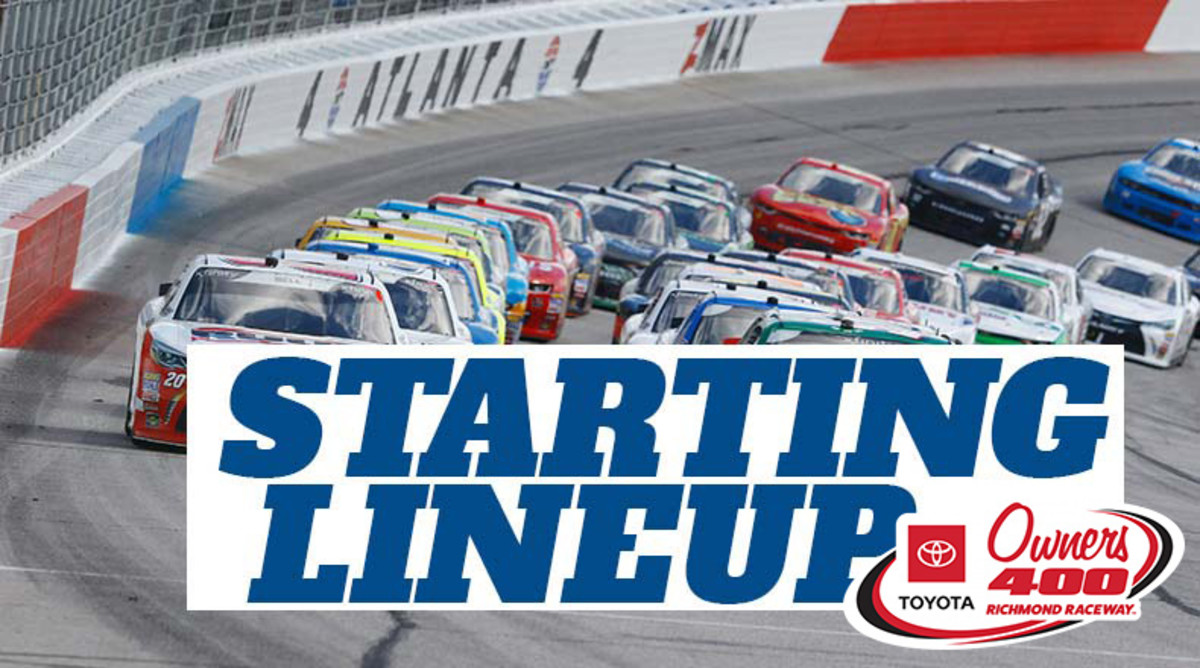 NASCAR Starting Lineup for Sunday's Toyota Owners 400 at Richmond Raceway