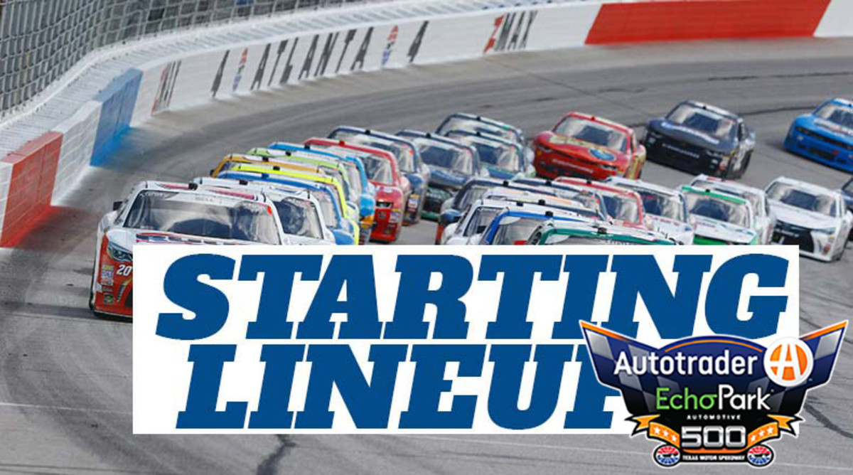 NASCAR Starting Lineup for Sunday's Autotrader EchoPark Automotive 500 at Texas Motor Speedway