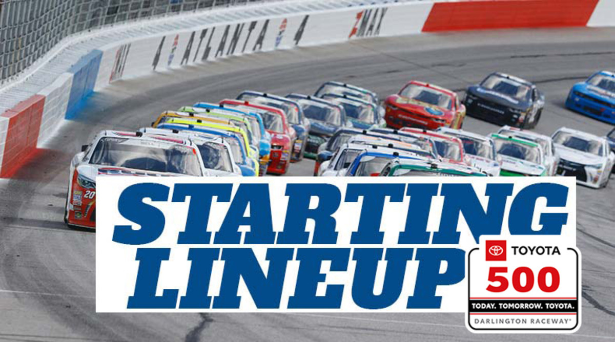 NASCAR Starting Lineup for Wednesday's Toyota 500 at Darlington Raceway