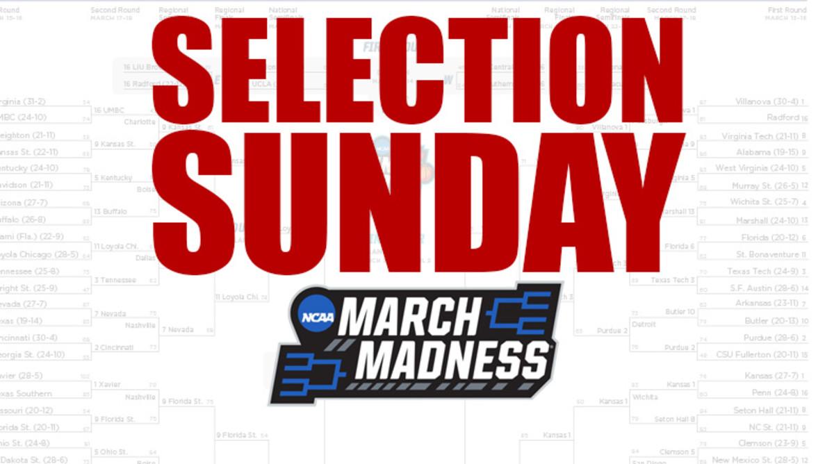 ncaa baskeball selection sunday time tv