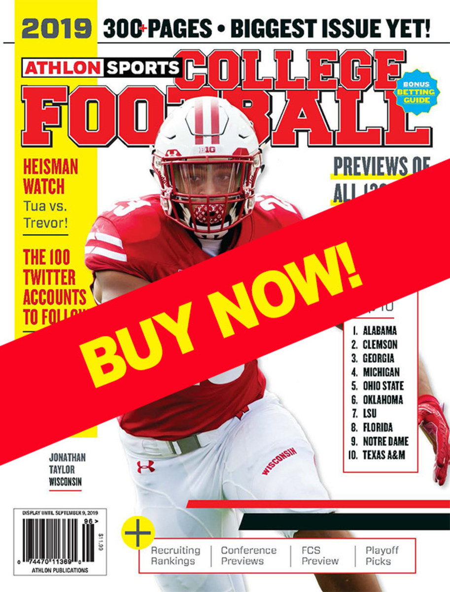 Athlon Sports college football magazine with Wisconsin cover