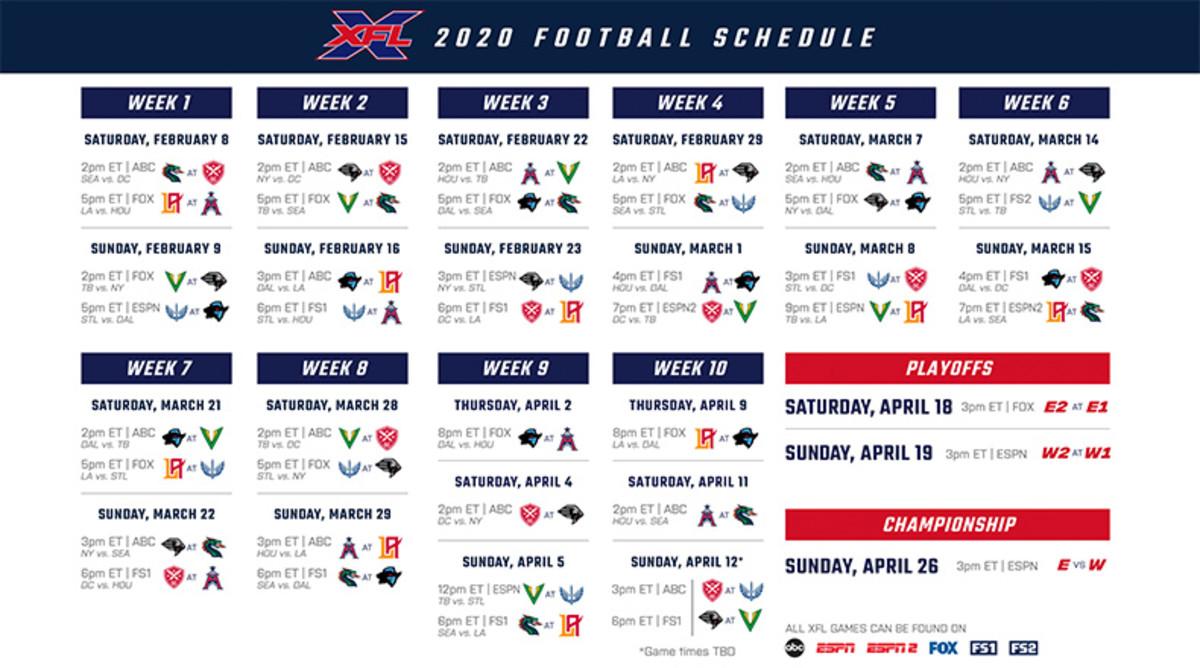 XFL Football: 2020 Season Schedule