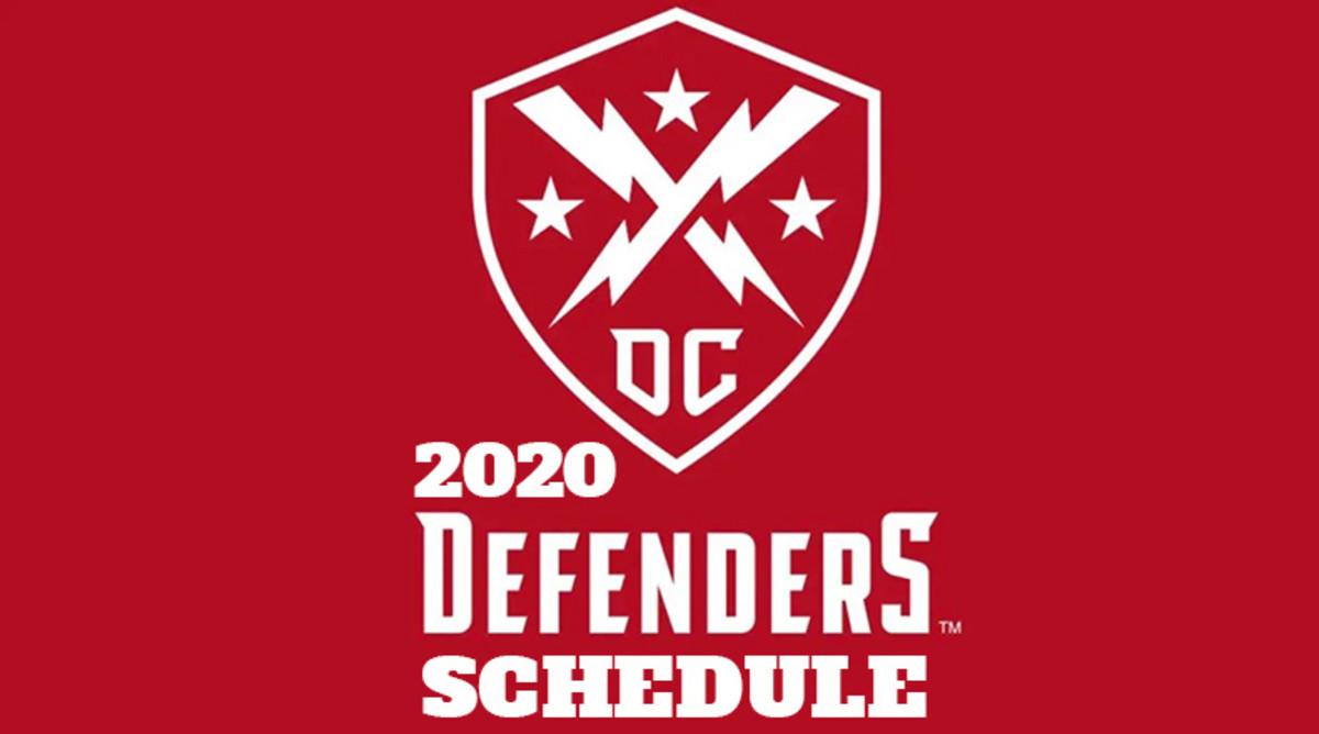 DC Defenders Schedule 2020 (XFL Football)