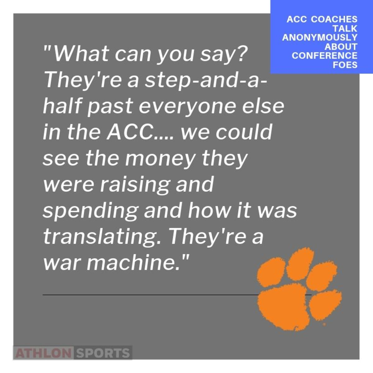 Anonymous coaches quotes about Clemson and the ACC