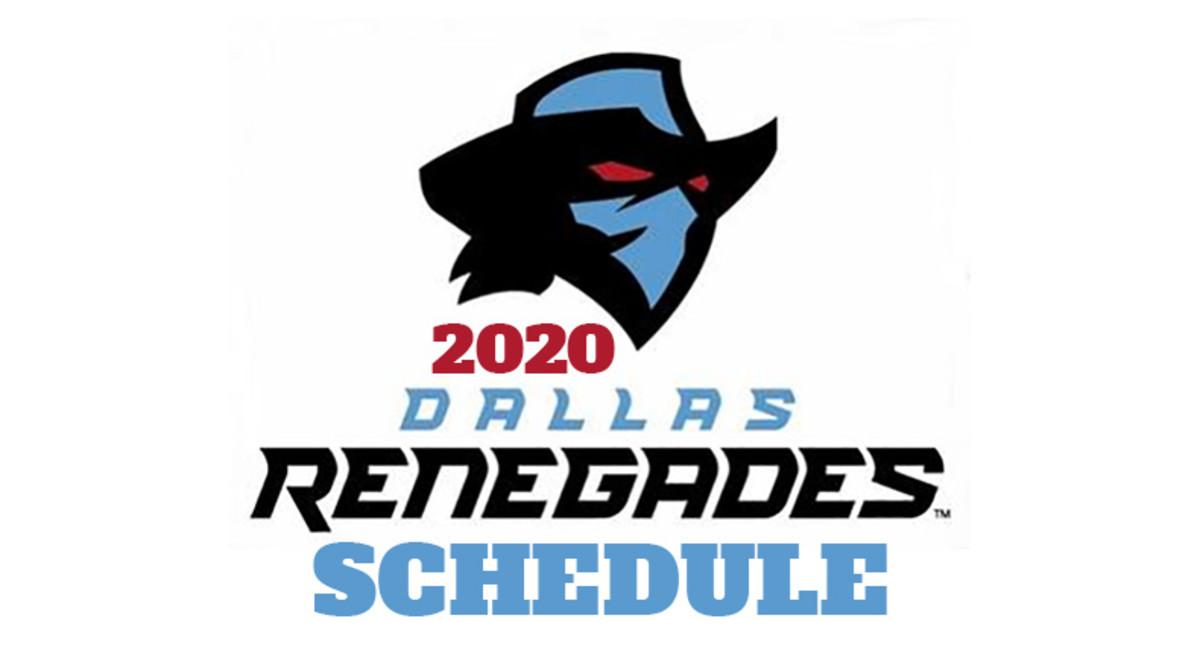 Dallas Renegades 2020 Schedule (XFL Football)