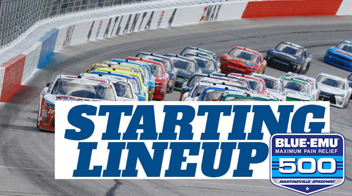 NASCAR Starting Lineup for Wednesday's Blue-Emu Maximum Pain Relief 500 at Martinsville Speedway