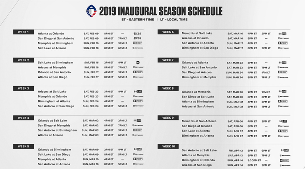 AAF Football: 2019 Season League Schedule