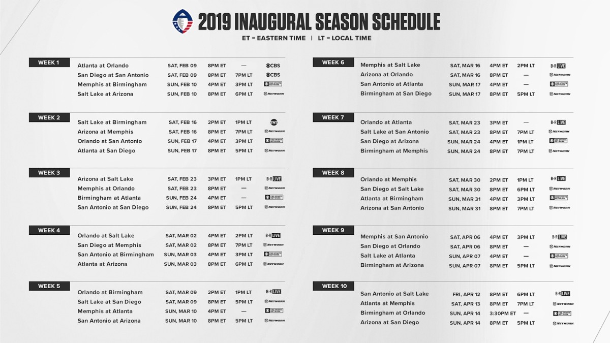 AAF Football League Schedule for 2019 (Printable)