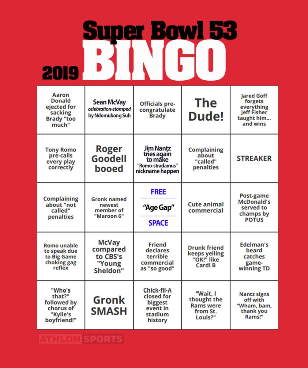 Super Bowl 53 Bingo Card 2019